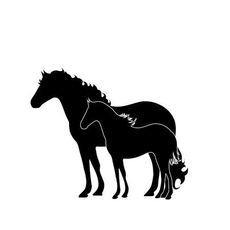 Vector silhouet van horse´s moeder met klein veulen. Symbool van dier.