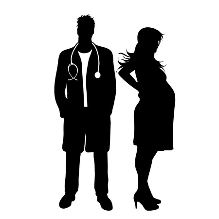 Vector silhouette of doctor gynecologist with patient on white background. Symbol of healthy and hospital. Pregnant woman.