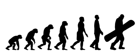 Theory of evolution of man. Vector silhouette of homo sapiens. Symbol from monkey to snowboarder.