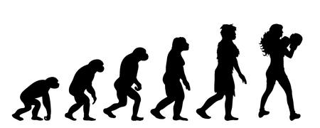 Teoría de la evolución de la mujer. Silueta de vector de homo sapiens. Símbolo de mono a boxeador. Ilustración de vector