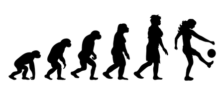 Teoría de la evolución de la mujer. Silueta de vector de homo sapiens. Símbolo del mono al futbolista.