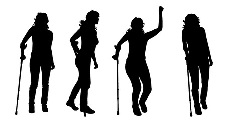 Vector silhouette of woman who walking with crutches on white background. Symbol of injury. Vector Illustration
