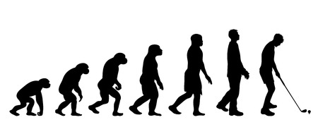Theory of evolution of man. Vector silhouette of homo sapiens. Symbol from monkey to snowboarder. 向量圖像