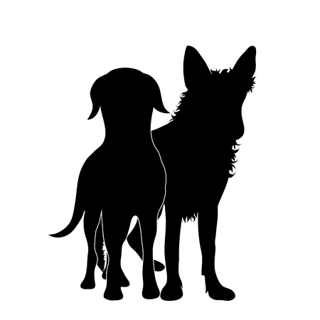 Vector silhoutte of dog and cat on white background. Symbol of animal and veterinary.