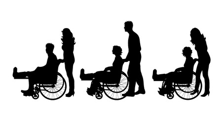 Vector silhouette of set of people who sit on wheelchair with gypsun on her leg on white background. Symbol of injury.