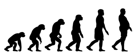 Theory of evolution of man. Vector silhouette of homo sapiens. Symbol from monkey to fat man.