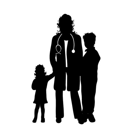 Vector silhouette of pediatrician doctor with childen´s patient on white background. Symbol of healthy and hospital.