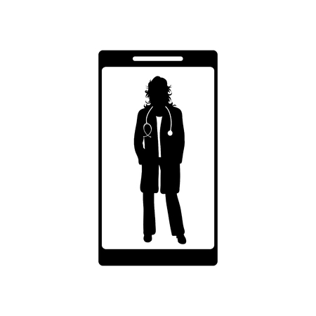 Vector silhouette of doctor with coat and stethoscope on screen the cell phone. Symbol of healthy and hospital. Ilustracja