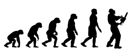 Theory of evolution of man. Vector silhouette of homo sapiens. Symbol from monkey to worker with chainsaw.