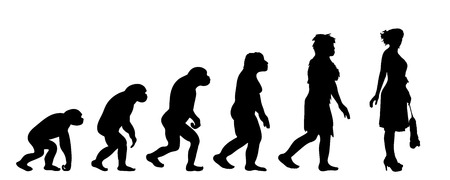 Painted theory of evolution of woman. Vector silhouette of homo sapiens. Symbol from monkey to cleaning lady. Illustration