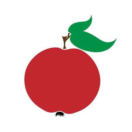 Vector illustration of painted apple on white background. Symbol of fruit, food,vegetarian,vegan.