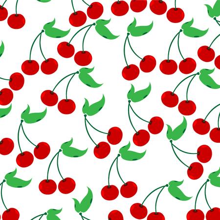 Vector illustration of painted cherries on white background. Symbol of fruit, food,vegetarian,vegan.