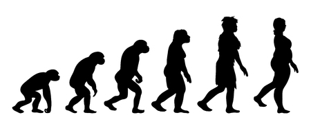 Painted theory of evolution of man. Vector silhouette of homo sapiens. Symbol from monkey to fat woman.