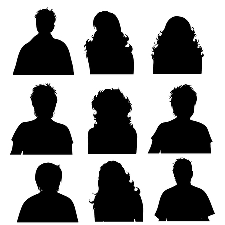 Vector silhouette of anonymous profile of man and woman on white background. Illustration symbol of people.