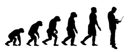 Painted theory of evolution of man. Vector silhouette of homo sapiens. Symbol from monkey to businessman.