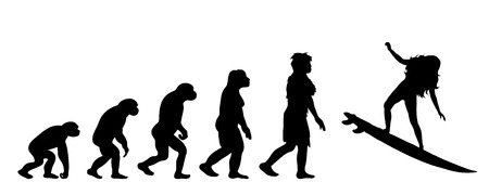 Painted theory of evolution of woman. Vector silhouette of homo sapiens. Symbol from monkey to surfer. Illustration