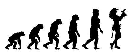 Painted theory of evolution of man. Vector silhouette of homo sapiens. Symbol from monkey to worker with drill.