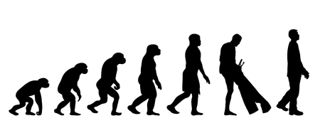 Painted theory of evolution of man. Vector silhouette of homo sapiens. Symbol from monkey to dressed man.