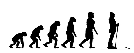 Painted theory of evolution of woman. Vector silhouette of homo sapiens. Symbol from monkey to skier.