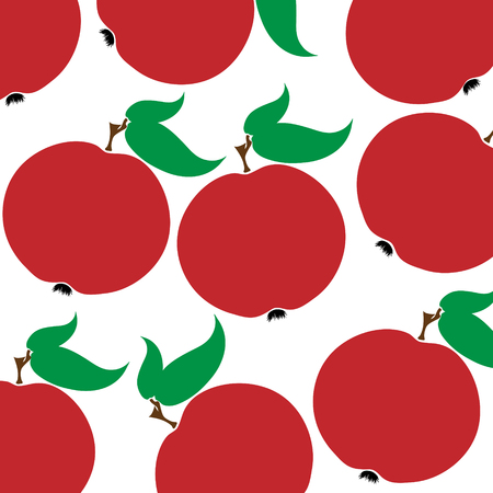 Vector illustration of painted apples on white background. Symbol of fruit, food,vegetarian,vegan.