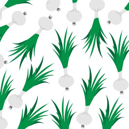 Vector illustration of painted spring onion on white background. Symbol of vegetable, food,vegetarian,vegan. Illustration