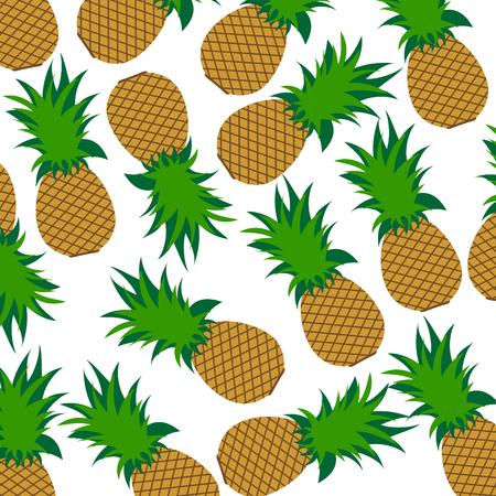 Vector illustration of painted pineapple on white background. Symbol of fruit, food,vegetarian,vegan.