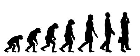 Teoria dipinta dell'evoluzione dell'uomo. Siluetta di vettore dell'homo sapiens. Simbolo dalla scimmia all'uomo d'affari.