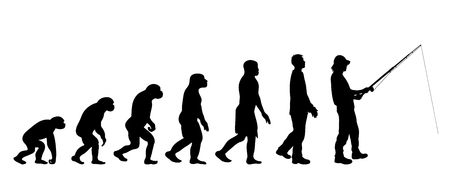 Painted theory of evolution of man. Vector silhouette of homo sapiens. Symbol from monkey to fisherman.