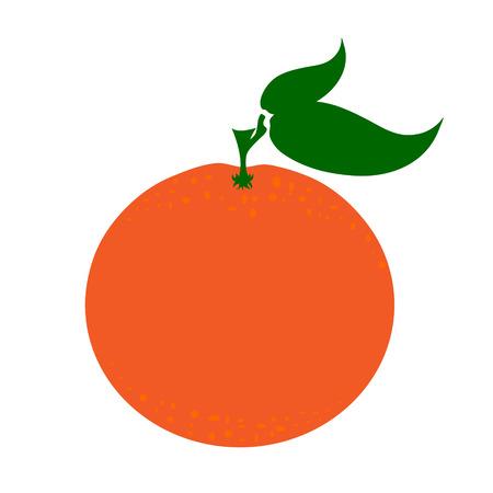Vector illustration of painted orange on white background. Symbol of fruit, food,vegetarian,vegan.