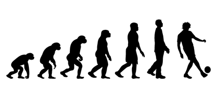 Painted theory of evolution of man. Vector silhouette of homo sapiens. Symbol from monkey to footballer. 向量圖像