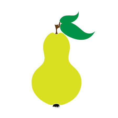 Vector illustration of painted pear on white background. Symbol of fruit, food,vegetarian,vegan.