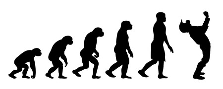 Painted theory of evolution of man. Vector silhouette of homo sapiens. Symbol from monkey to motocross rider.
