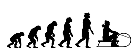 Painted theory of evolution of woman. Vector silhouette of homo sapiens. Symbol from monkey to sledger.