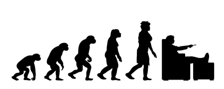 Painted theory of evolution of woman. Vector silhouette of homo sapiens. Symbol from monkey to watcher TV.