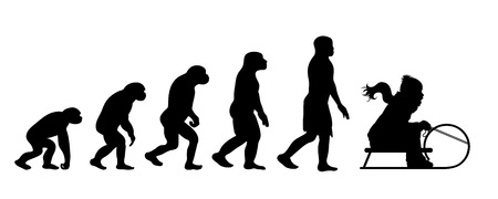 Painted theory of evolution of man. Vector silhouette of homo sapiens. Symbol from monkey to sledger. 向量圖像