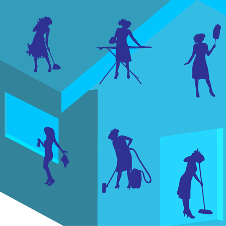 Vector silhouette of cleaning lady on the house. Symbol of home service.