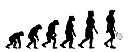 Painted theory of evolution of woman. Vector silhouette of homo sapiens. Symbol from monkey to tennis player.