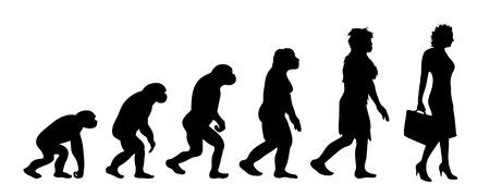 Malowana teoria ewolucji kobiety. Sylwetka wektor homo sapiens. Symbol od małpy do bizneswoman.