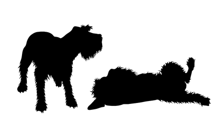 Vector silhoutte of couple of dogs on white background. Symbol of animal and veterinary.