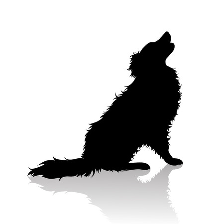 Vector silhoutte of dog on white background. Symbol of animal and veterinary.