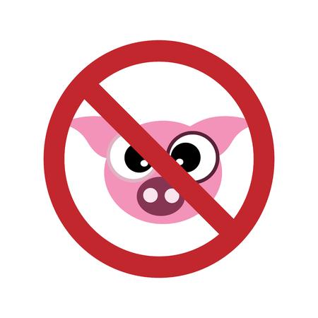 Vector illustration of pig ban mark on a white background. Symbol of animal, vegetarian, vegan, no meat, no pork. Illustration