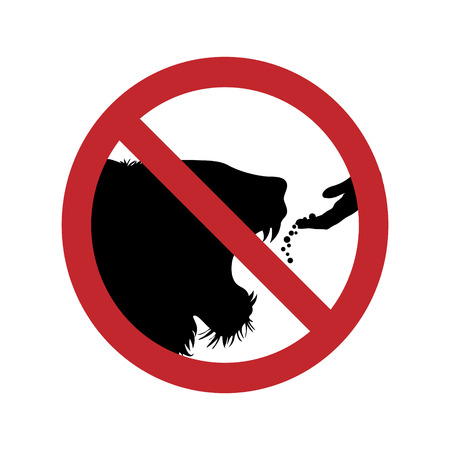 Vector silhouette of do not feed the lion ban mark on a white background. Symbol of animal,warning,zoo.