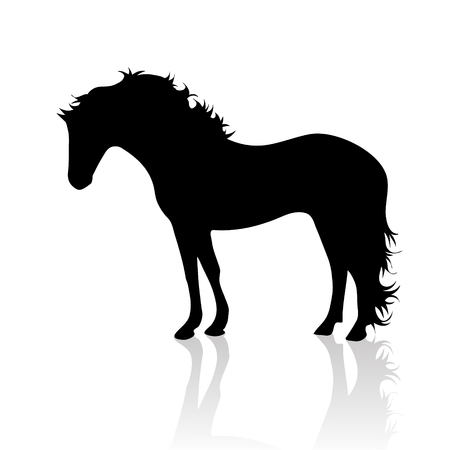 Vector silhouette of horse on white background.Symbol of animal and nature.