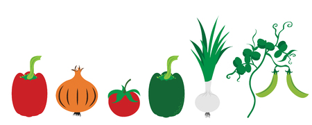 Painted vector illustration of vegetable on white background. Symbol of pepper, onion,tomate,pea, food,vegetarian,vegan.