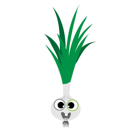 Painted vector illustration of happy spring onion with eyes and mouth on white background. Symbol of fruit, food,vegetarian,vegan.