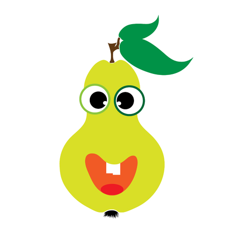 Painted vector illustration of happy pear with eyes and mouth on white background. Symbol of fruit, food,vegetarian,vegan.