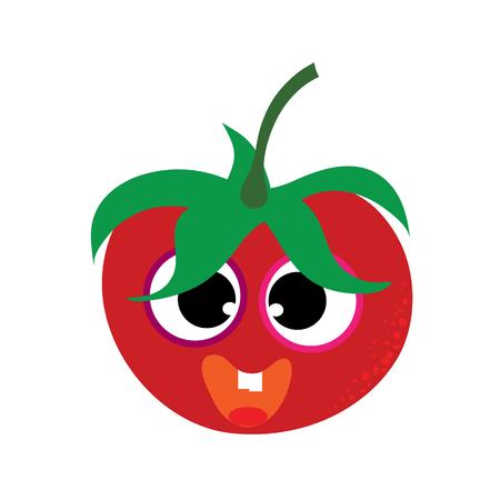 Painted vector illustration of happy tomato with eyes and mouth on white background. Symbol of fruit, food,vegetarian,vegan. Ilustração
