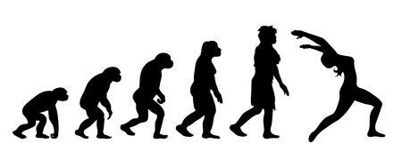 Painted theory of evolution of woman. Vector silhouette of homo sapiens. Symbol from monkey to yoga. 向量圖像