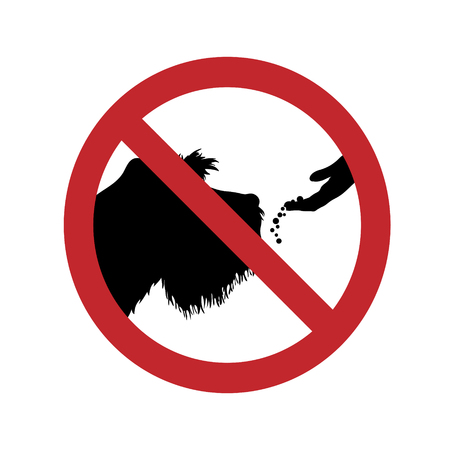 Vector silhouette of do not feed the dog ban mark on a white background. Symbol of animal,warning,nature,pet.