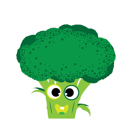 Painted vector illustration of happy brocoli with eyes and mouth on white background. Symbol of fruit, food,vegetarian,vegan.